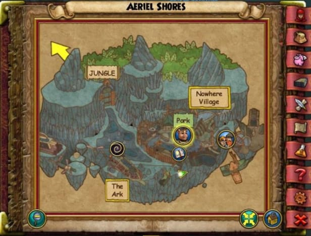 The Aerial Shores Crown Empyreal is located to the right side of the village entrance.