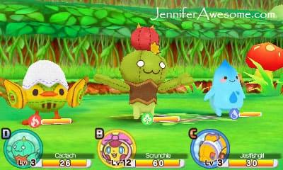 "Screenshot from a battle in ""Moco Moco Friends."""