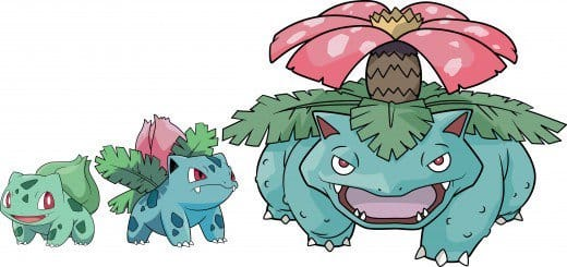Bulbasaur, Ivysaur, and Venusaur
