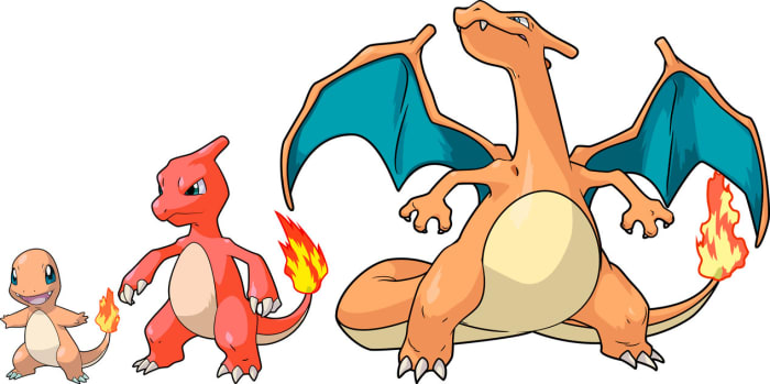 Charmander, Charmeleon, and Charizard