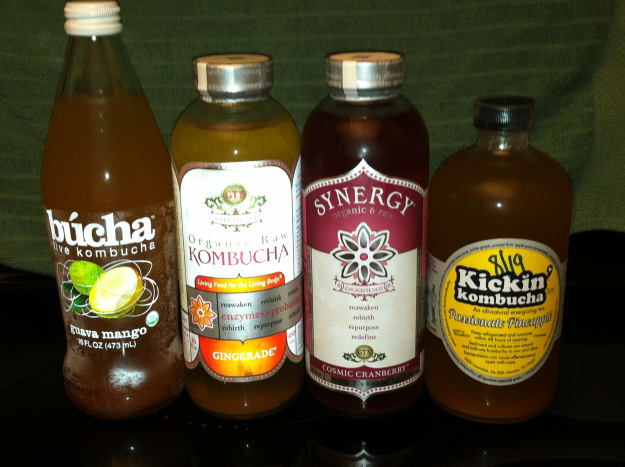 Multiple brands and flavors of Kombucha. I like the ginger flavor.
