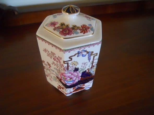 "Six sided tea caddy. Referred to as their ""Ming"" style jar."