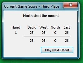 Scoring: Points calculated when someone shoots the moon in the card game of Hearts.
