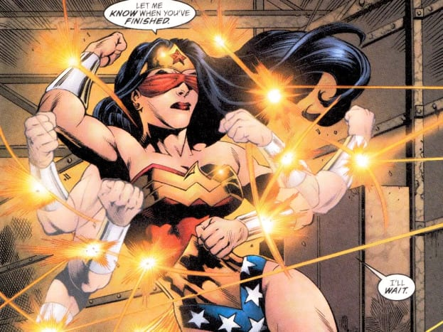 A blind-folded Wonder Woman deflecting a barrage of bullets with her magical bracelets.