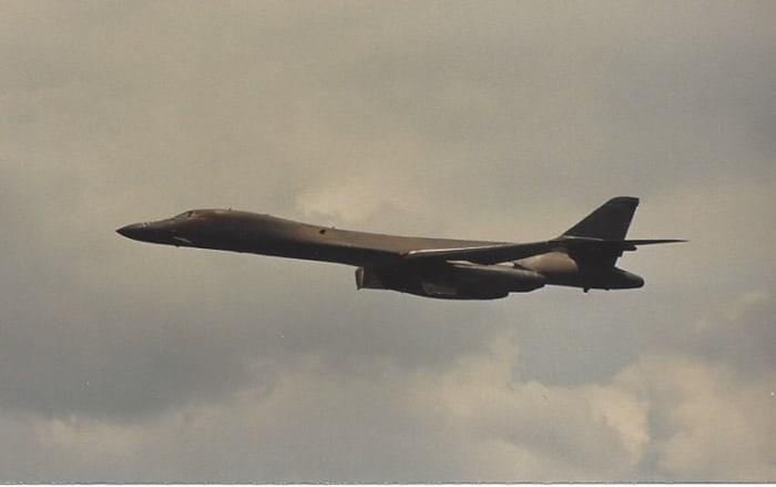 A B-1B in Flight, Andrews AFB, May 1989.