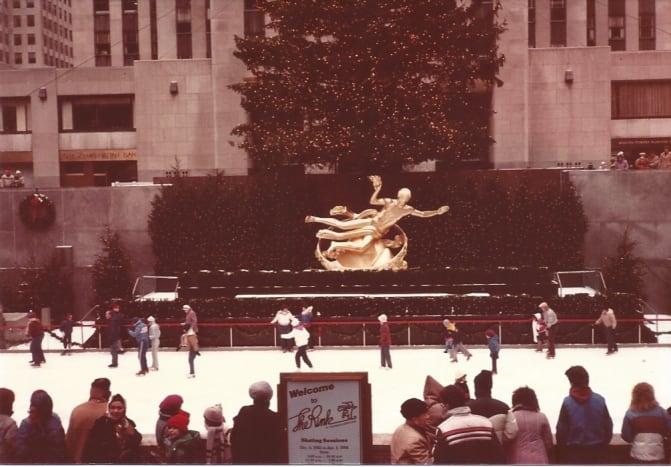 Ice Skating Rink at Rockefeller Center.  Christmas Eve, 1983.