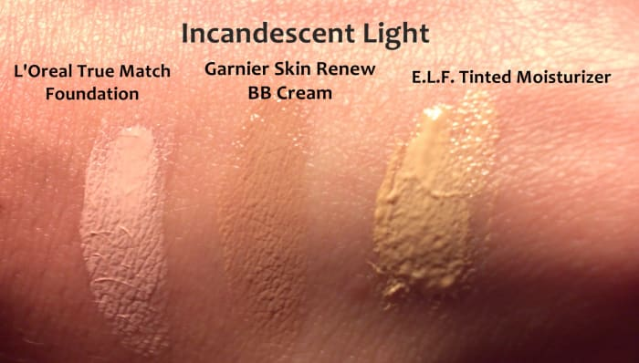 Samples of BB Cream, Foundation, and Tinted Moisturizer under incandescent light.