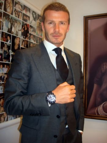 Beckham in another Jacob & Co. watch, this with a round face.