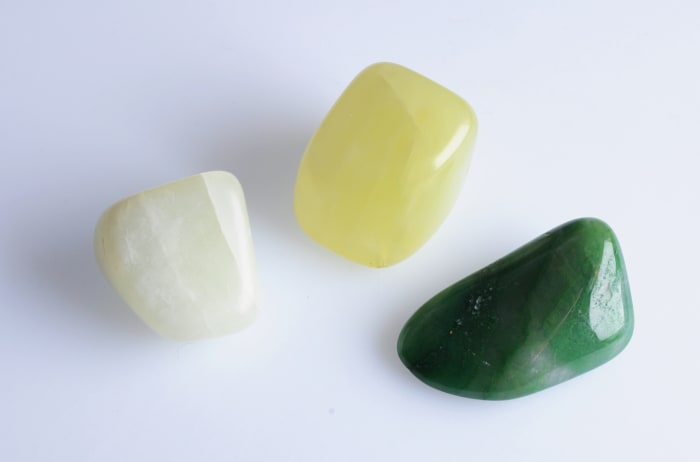 These three stones are all jade, even though only one has the green hue we normally think of for this ornamental stone.