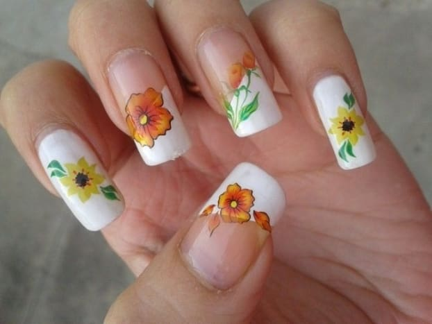 Yellow Flower Water Decals with French Manicure