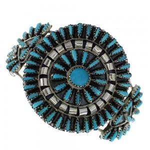 Zuni needlepoint/petit point turquoise and silver cuff bracelet.