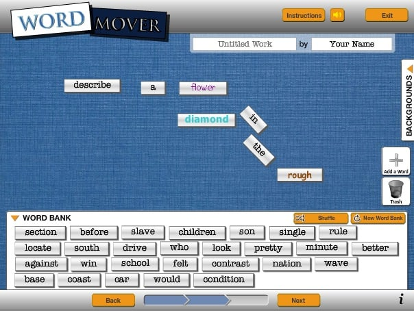 The various features of ReadWriteThink: Word Mover interactive.