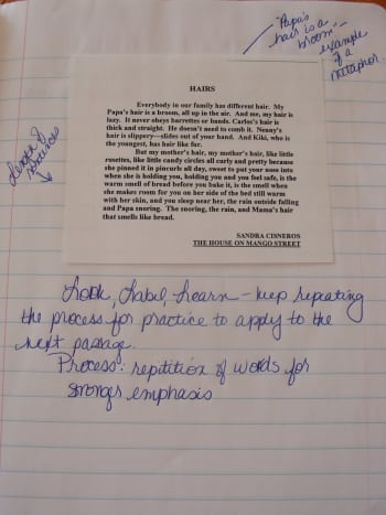 Examples of mentor text in a notebook. Annotations help the writer to remember what to include in his or her next writing.