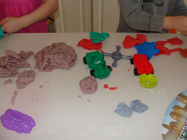 Use your imagination to add different dimensions to your play-dough play.