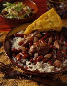 Red beans and rice are delicious when served with cornbread.
