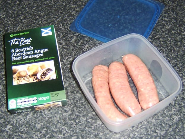 Aberdeen Angus Scotch beef sausages.