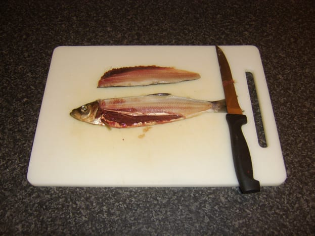 First loin fillet is removed from the herring