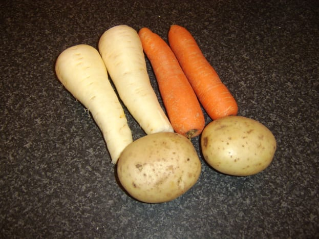 Vegetables for beef and chestnut soup