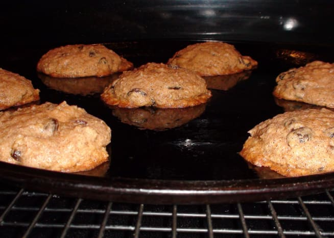 Hot cookies out of the oven. Let rest on the cookie sheet for a few minutes before transferring to a cooling rack.