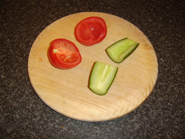 Deseeding tomato and cucumber for salsa