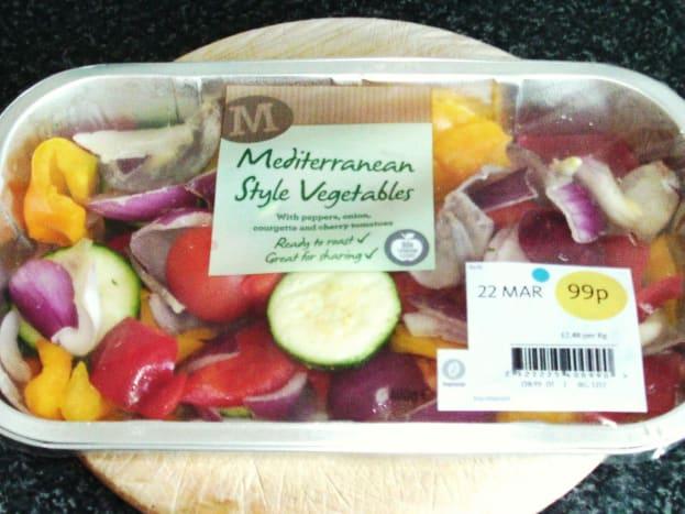 Supermarket pack of assorted Mediterranean roasting vegetables