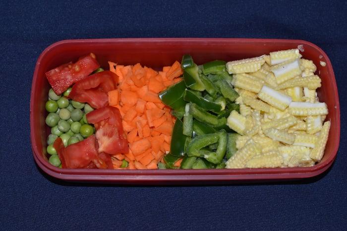Preparing the vegetables.