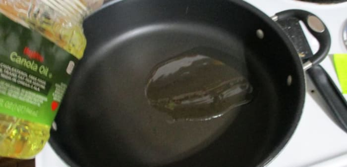 oil in pan, medium heat