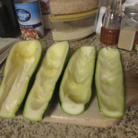 Scoop out the zucchini boats