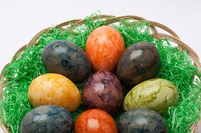 Tea Eggs can be made in many colors, depending on the tea used. Try green tea for green eggs.