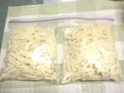 Noodles ready to go into the freezer.