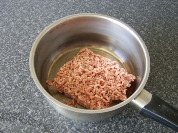 Add the raw lamb to a dry saucepan.