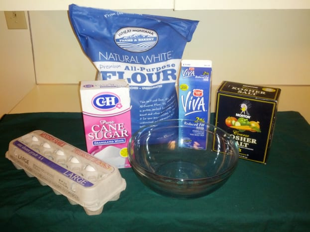 Basic crepe ingredients, room temperature.