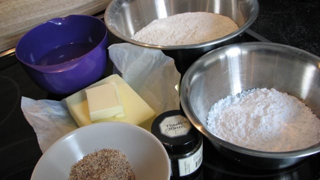 Dough ingredients - sugar, flour, ground almonds, butter, vanilla paste and iced water.