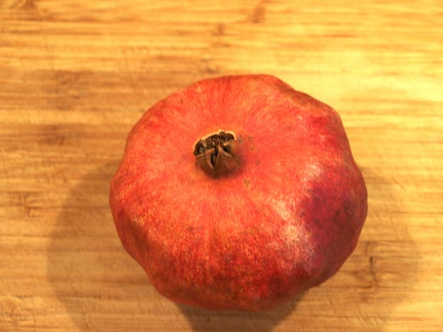 1. Place your pomegranate on your cutting surface.