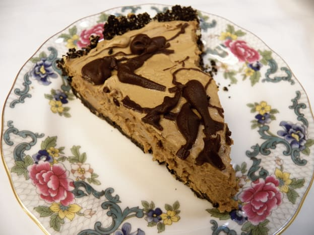 Peanut butter pie slices easily and looks elegant on a plate!