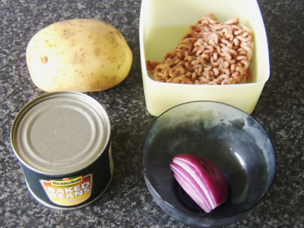 Principal ingredients for mince and beans baked potato