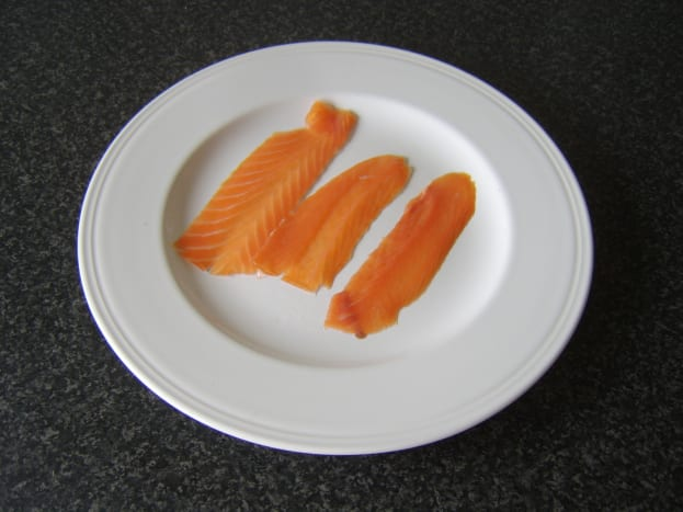 Oak-smoked, long slice salmon.