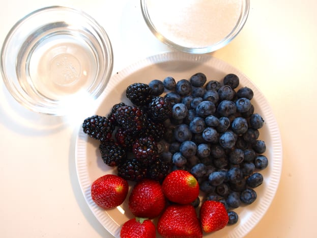 Assemble the ingredients.  Here we have mixed berries, sugar and water.