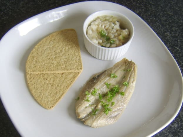 Jellied conger eel, onion and parsley with poached herring and oatcakes