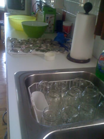Jars are washed. Now they need to simmer in hot water.