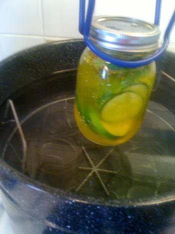 Use tongs when placing and removing jars from hot water. It's time for your bath!
