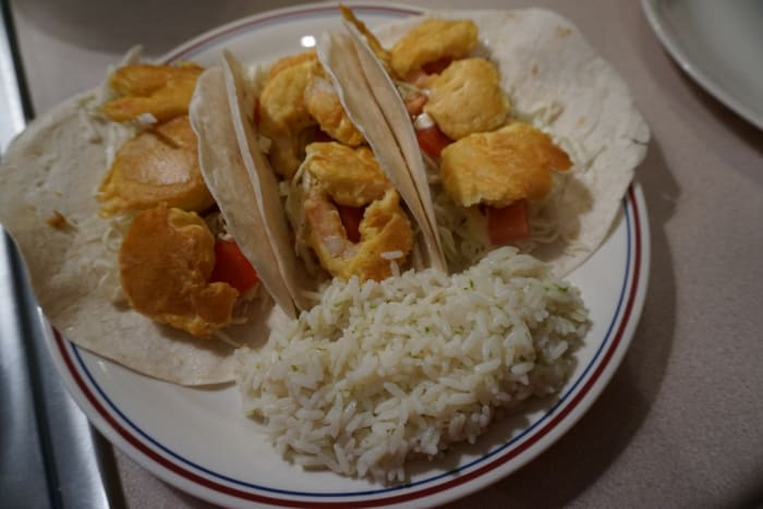 Bang Bang Shrimp Tacos. The flour tortillas were a bit wimpy but I like them like that.  These were also very tasty.