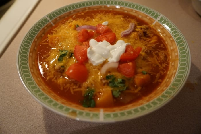 Turkey and Butternut Squash Chili. I never knew butternut squash with ground turkey worked so well!  This was one of my favorite dishes.