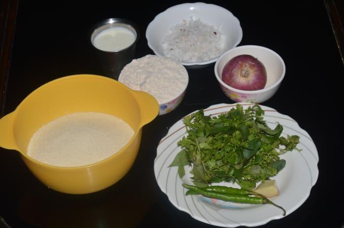 Ingredients used for making Semolina pancake