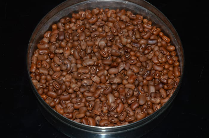 Step one: Cook black-eyed beans with just enough water