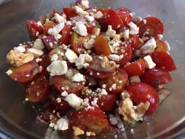 Finished tomato feta summer salad