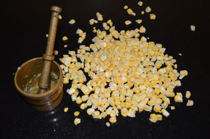 Step one: Mince ginger, garlic, and green chili. Keep ready the sweet corn kernels.