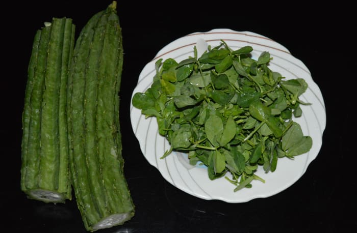 Ridge gourd and fenugreek leaves.