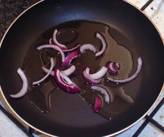 Onion is briefly sauteed