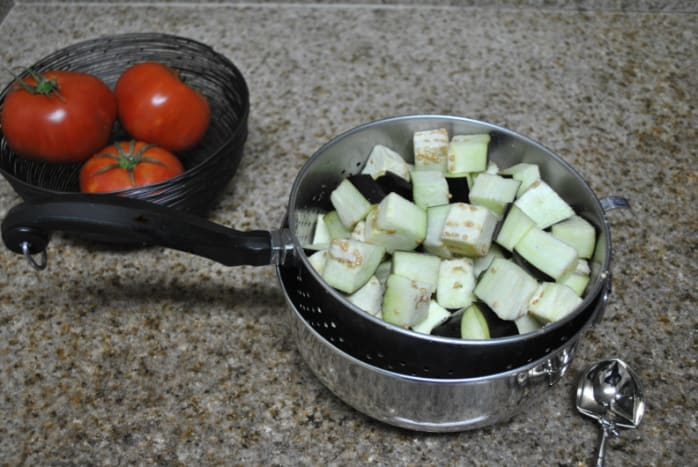 Eggplant absorbing salt.